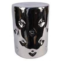 Ceramic Button Stool - Silver