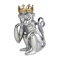 Silver Macaque With Gold Crown - 38cm