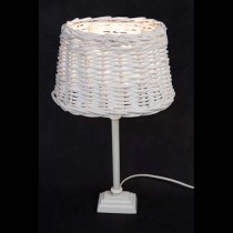 White aluminium small bulb socket with rattan shade