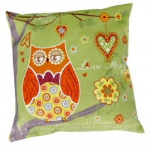 Cushion Cover Only - Owl (Green)