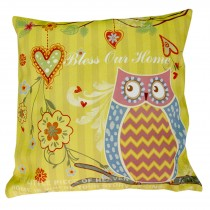 Cushion Cover Only - Owl (Yellow)