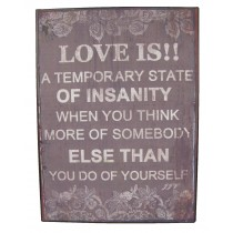 Metal Plaque 'Love Is'