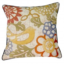 Cushion Cover Only - Bird Yellow (Black Trim)