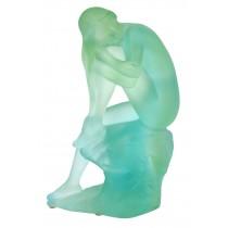 Crystal Glass Lady Sitting On Rock - EX DISPLAY