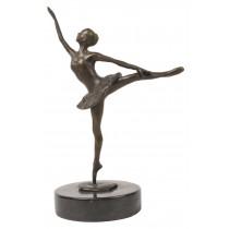 Ballerina Leg Up Bronze Sculpture On Marble Base