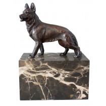 Dog Bronze Sculpture On Marble Base - EX DISPLAY