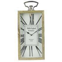 Large Rectangular Desk Clock Wood Nickel