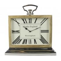 Large Desk Clock Wood Nickel