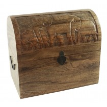 Mango Wood Elephant Design Wine Box (Holds 6)