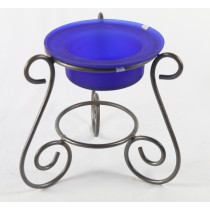 BLUE FROSTED FLOATING CANDLE BOWL WITH STAND