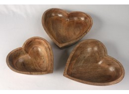 Mango Wood Set of 3 Heart Bowls