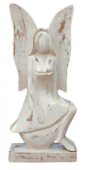 Wooden Angel Sitting - White Wash Finish