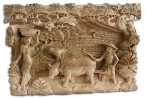 Wooden Ploughing Wall Hanging - Natural Polished - Suar Wood - 32cm